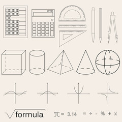 Set of math icons. Linear style. Knowledge of math and geometry.