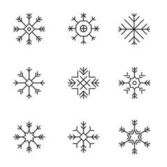 Snowflake icons set -variable line-