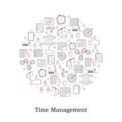 """Cicle linear """"Time Management"""" icon."""