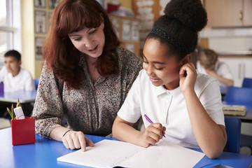 Primary school teacher with a schoolgirl in class, close up