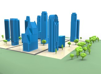 3d illustration of simple city with trees. low poly triangles and polygons style. icon for game web. green blue texture color. white background isolated with shadow. simple to use.