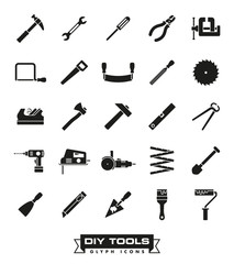 Do it yourself and crafting tools glyph Icon Set
