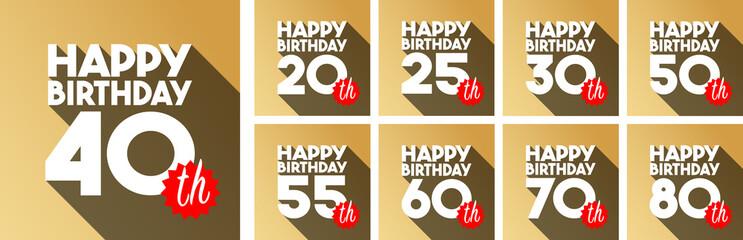 Happy 20th Birthday to Happy 80th Birthday