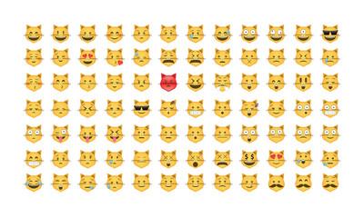 Cat Emoticon vector. Emoji vector. Smile icon set.  Emoticon icon web - stock vector.