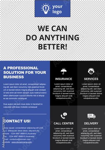 a4 professional center header template blue