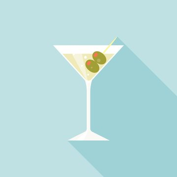 Martini glass and alcohol with green olives illustration, Martini icon cocktail vector, flat design