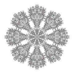 Abstract vector round lace design mandala, decorative element