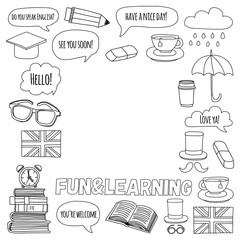Vector set Doodle patterns and icons English courses Language school
