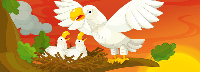 Cartoon scene of mother eagle taking care of her children - illustration