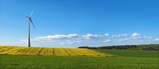 Landschaftliches Panoramabild mit Windrad, Rapsfeld und lockerer Bewölkung am blauen Himmel