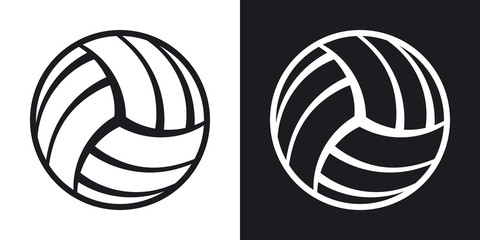 Vector volleyball ball icon. Two-tone version on black and white background
