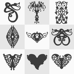 Set of black decorative elements for design isolated on the white background. Silhouettes and stickers of dragons, abstract pattern, twisted snakes, decirative hearts. Vector graphic logo, template.