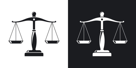 Vector vintage scales of justice icon. Two-tone version on black and white background Wall mural