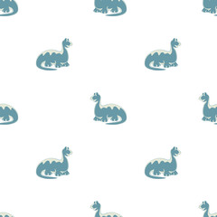 Blue dinosaurs. Seamless pattern