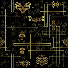 Geometric abstract seamless pattern with ornament elements. Gold geometric figures and ornament are on the black background.