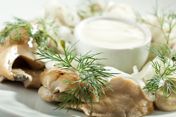Pickled Mushrooms with Sour Cream