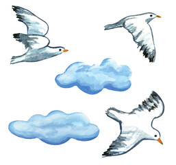 Seagulls and clouds watercolor hand painted clip art illustration. Isolated on white background.