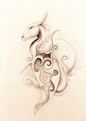 drawing of ornamental dragon and sun on old paper background.