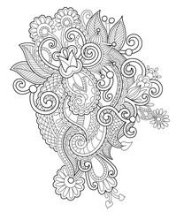 black and white zentangle line art flower drawing, graphic print