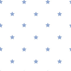 Small neat blue stars on a white background seamless pattern