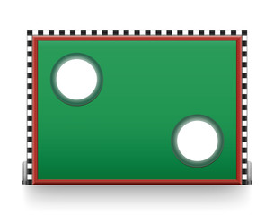 Soccer goal wall with two holes - for to take a penalty kick. Isolated vector illustration on white background.