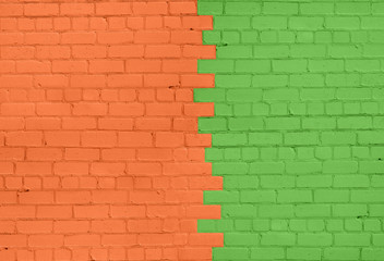 Orange-Green Brick Wall