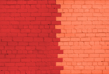 Bright Red and Orange Brick Wall