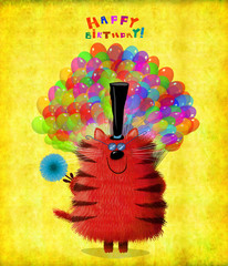 Birthday Card Red Striped Cat With Balloons And Flower