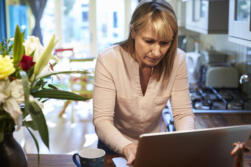 Woman Using Laptop In Kitchen Of Stylish Apartment