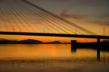 Two Bridges at Sunset