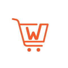W letter logo with Shopping cart icon.