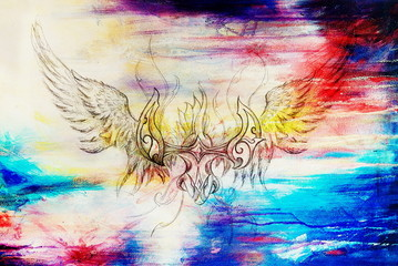 drawing of ornamental phoenix on old paper background computer collage. and color structure.