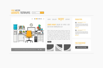 Abstract minimalistic website template or interface. Vector graphics.