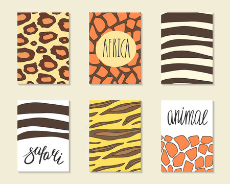Cute hand drawn doodle cards, brochures, covers