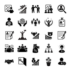 Business glyph vector icons