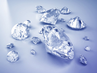 Group of diamonds in blue tone background ,3d.