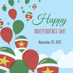 Independence Day Flat Greeting Card. Suriname Independence Day. Surinamer Flag Balloons Patriotic Poster. Happy National Day Vector Illustration.