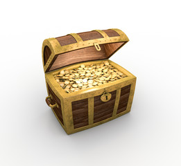 Open treasure chest on white background