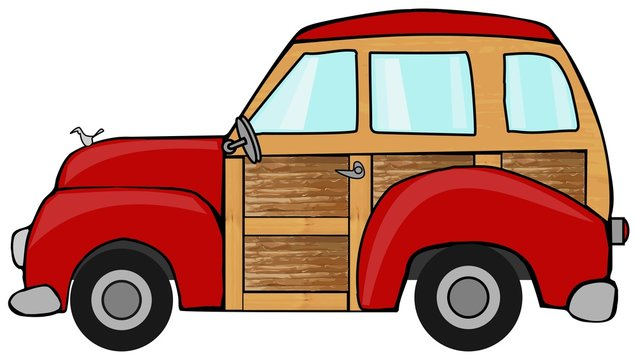 Red woody station wagon