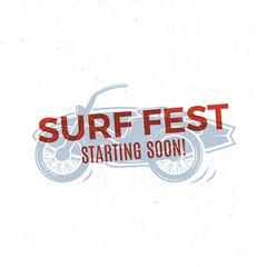 Vintage Surfing tee design. Retro Surf fest t-shirt Graphics and Emblem for web design or print. Surfer motorcycle logo design. Surf Badge. Surfboard stamp, elements, symbols. Summer colors. Vector