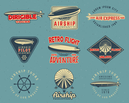 Vintage airship logo designs set. Retro Dirigible badges collection. Airplane Label vector design. Old airship design. Use as fly logos, labels, stamps, patches for web design, tee design, t-shirt.