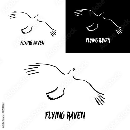 Grunge flying raven logo template. Vector illustration isolated on ...