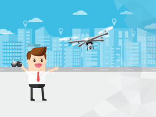 businessman control modern drone with camera flying in the sky on cityscape background. with copy space