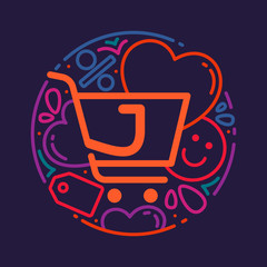 J letter logo with shopping cart icon, hearts and smile.