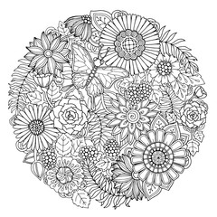 Circle summer doodle flower ornament with butterfly. Hand drawn