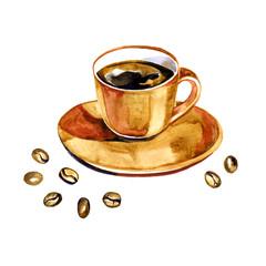 Hand drawn watercolor coffee