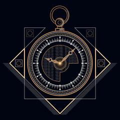 Golden pocket clock, Head drawn geometric shapes, thin line.