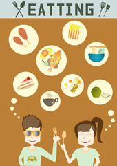 people enjoy eating,vector illustrations