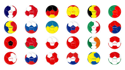 Soccer balls in the colors of EURO 2016 countries flags