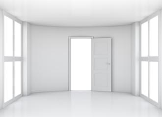 Empty room with opened door and windows